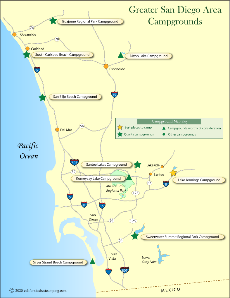 map of campgrounds in the greater San Diego area