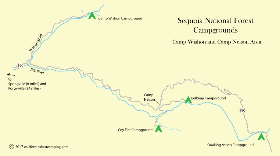 Sequoia National Forest campground map, CA