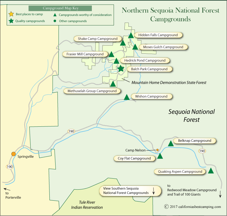 map of campgrounds in northern Sequoia National Forest