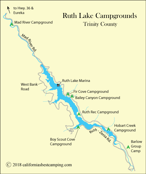 Ruth Lake Campground Map< Trinity County, CA