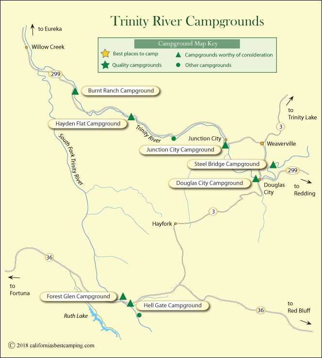 map of campgrounds along the Trinity River, California