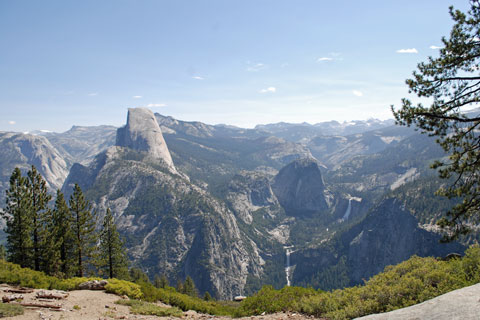 Half Done, Vernal and Nevada falls, from view near Bridalveil Creek Campground, Yosemite National Park