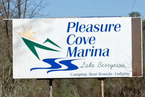 sign for Pleasure Cove Marina, Lake Berryessa, CA