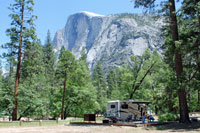 Yosemite Valley campsite and Half Dome, CA