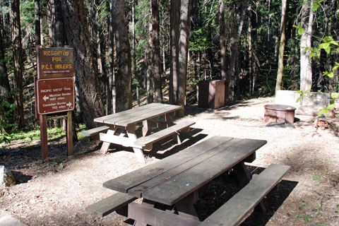 Hike and Bike Campsite used by Pacific Crest Trail hikers, Castle Crags State Park, CA