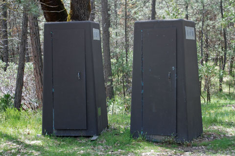 Crane Valley Group Campground toilets, Bass Lake, Sierra National Forest, CA
