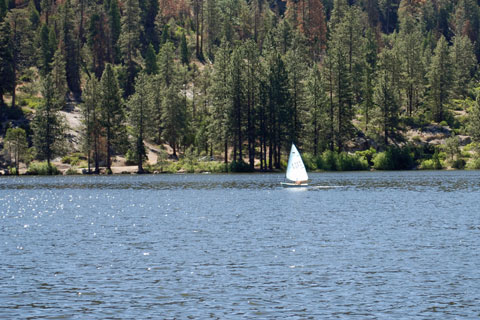 sailing on Hume Lake, Sequoia National Forest, CA