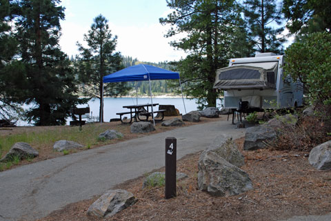 Campsite at Northwind Campground beside Ice House Reservoir, CA
