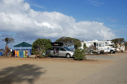 San Elijo State Beach campground, San Diego County, CA