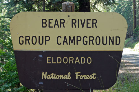 Sign at Bear River Group Campground, Eldorado National Forest, CA